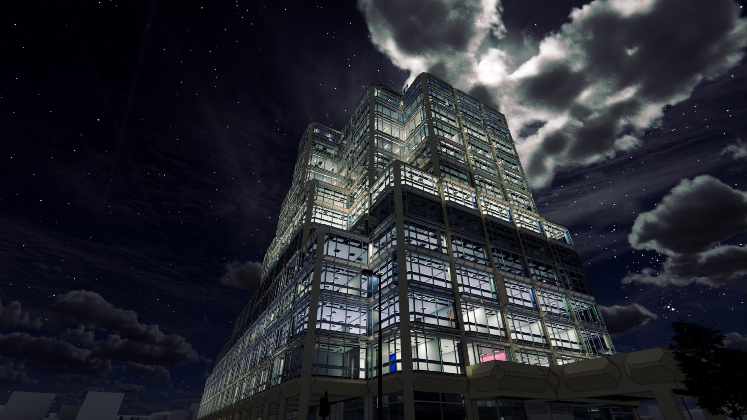 John Lewis Headquarters rendering at night