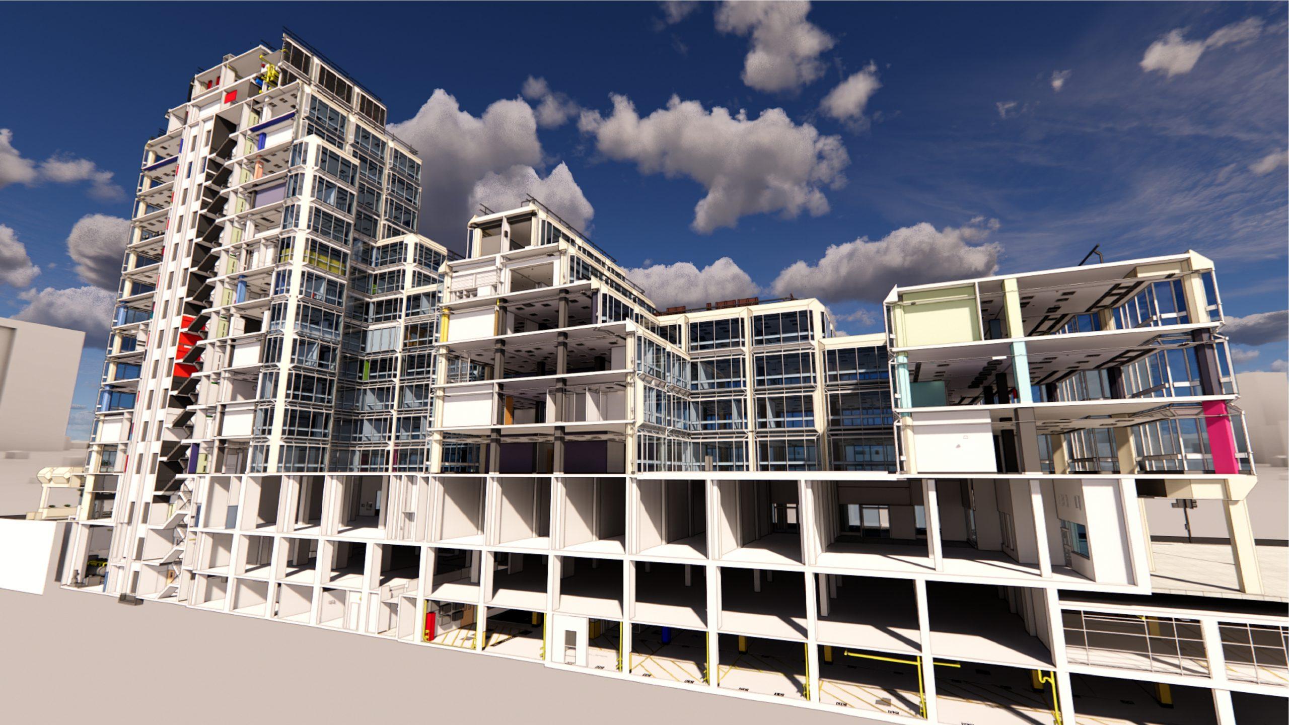 John Lewis Headquarters 3d rendering outside with floors