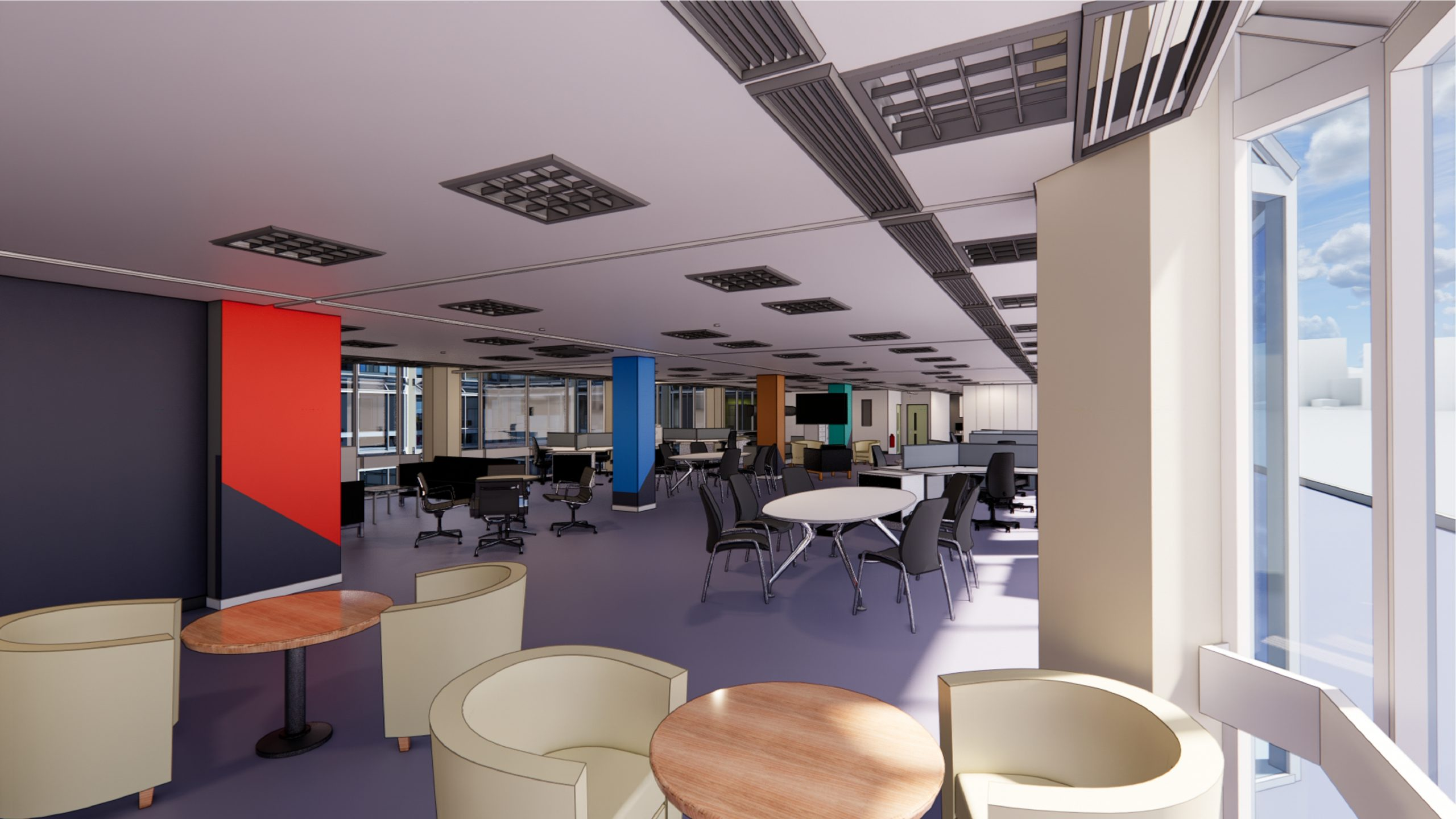 John Lewis Headquarters: 171 Victoria Street rendering with office furniture