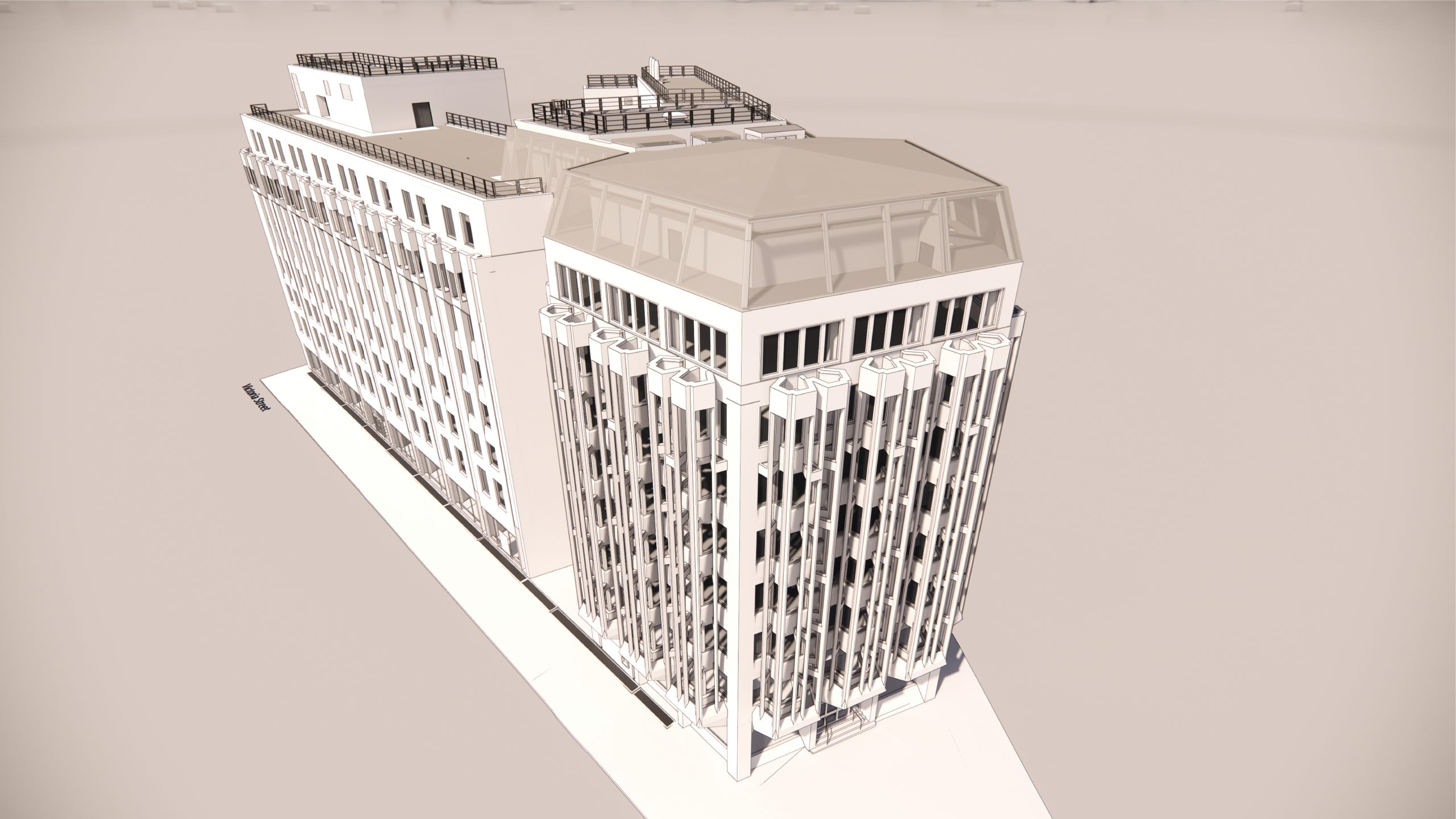 4 Victoria Street, 3D rendering side from above