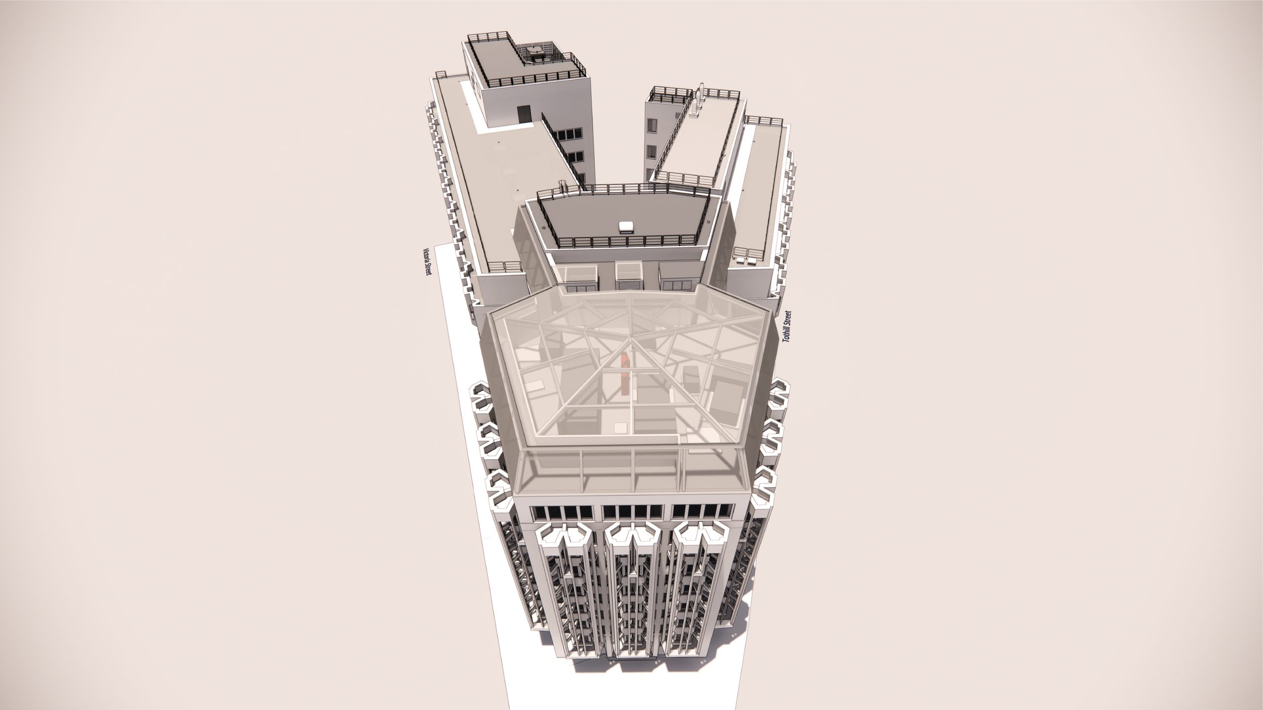 4 Victoria Street, rendering 3D from above