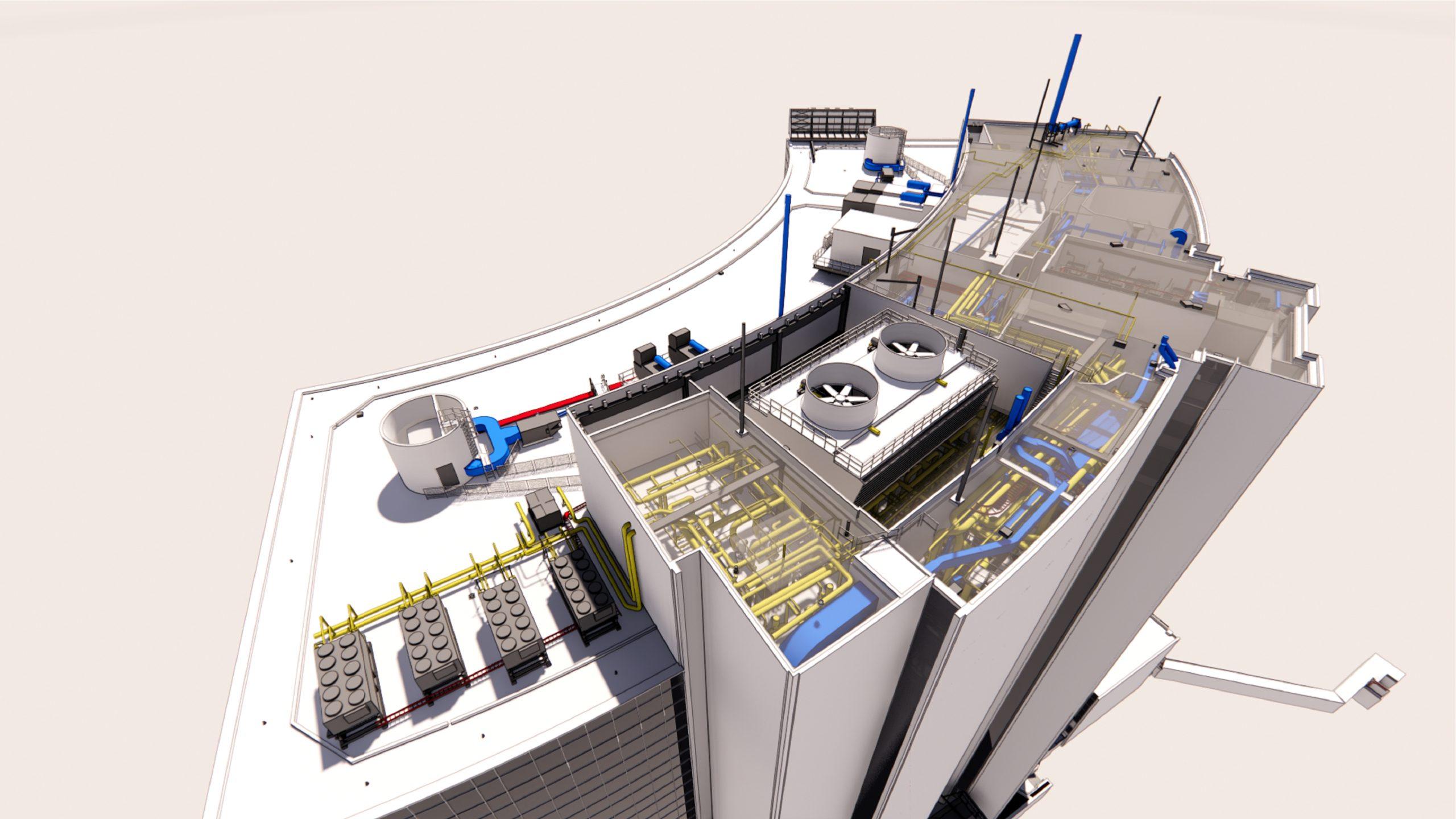 3D rendering, top view of 700 University Avenue, Toronto, no roof