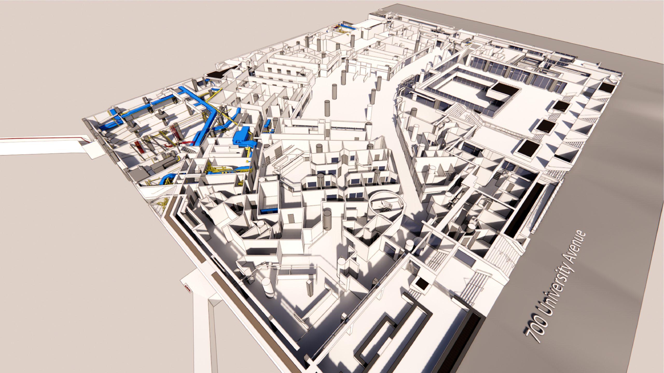 3D rendering of utilities, 700 University Avenue, Toronto