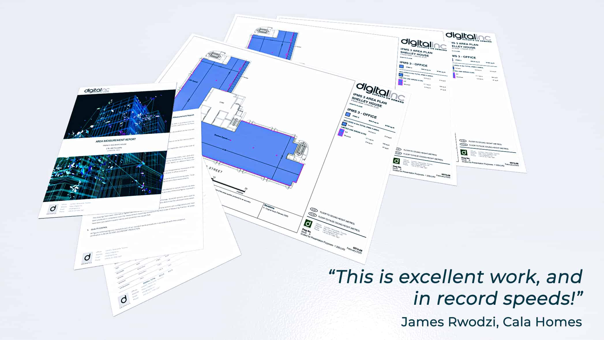 """Serval area plans and testimonial: """"This is excellent work, and in record speeds!"""" James Rwodzi, Cala Homes"""
