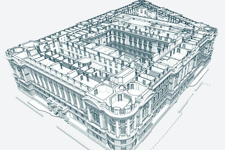 Old War Office 3d rendering