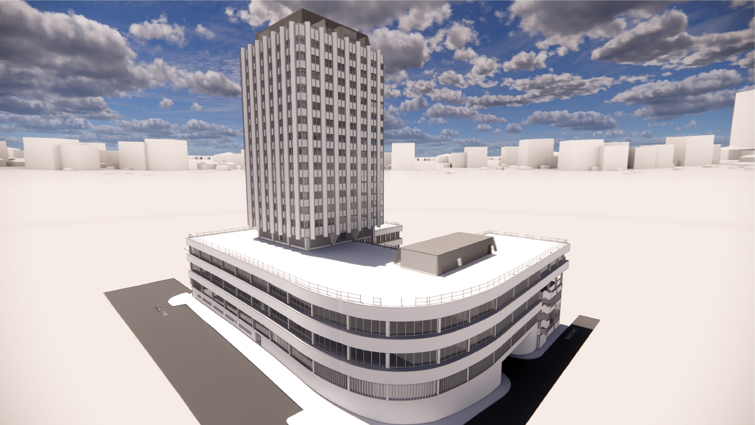 The Echo Building, Liverpool, 3d rendering from outside