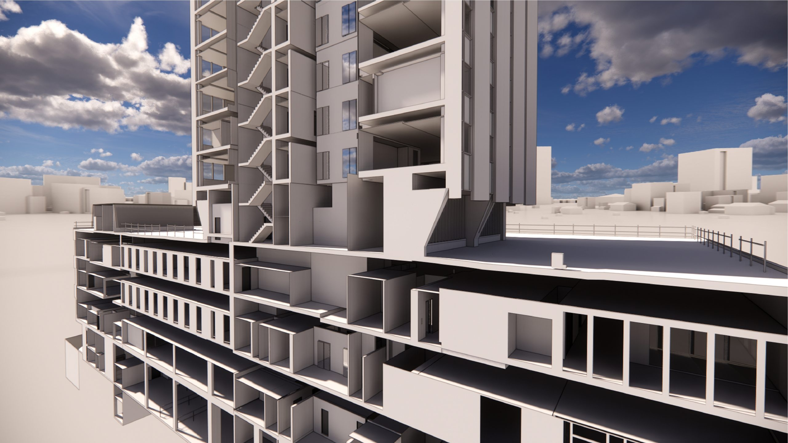 The Echo Building, Liverpool 3d rendering inside view