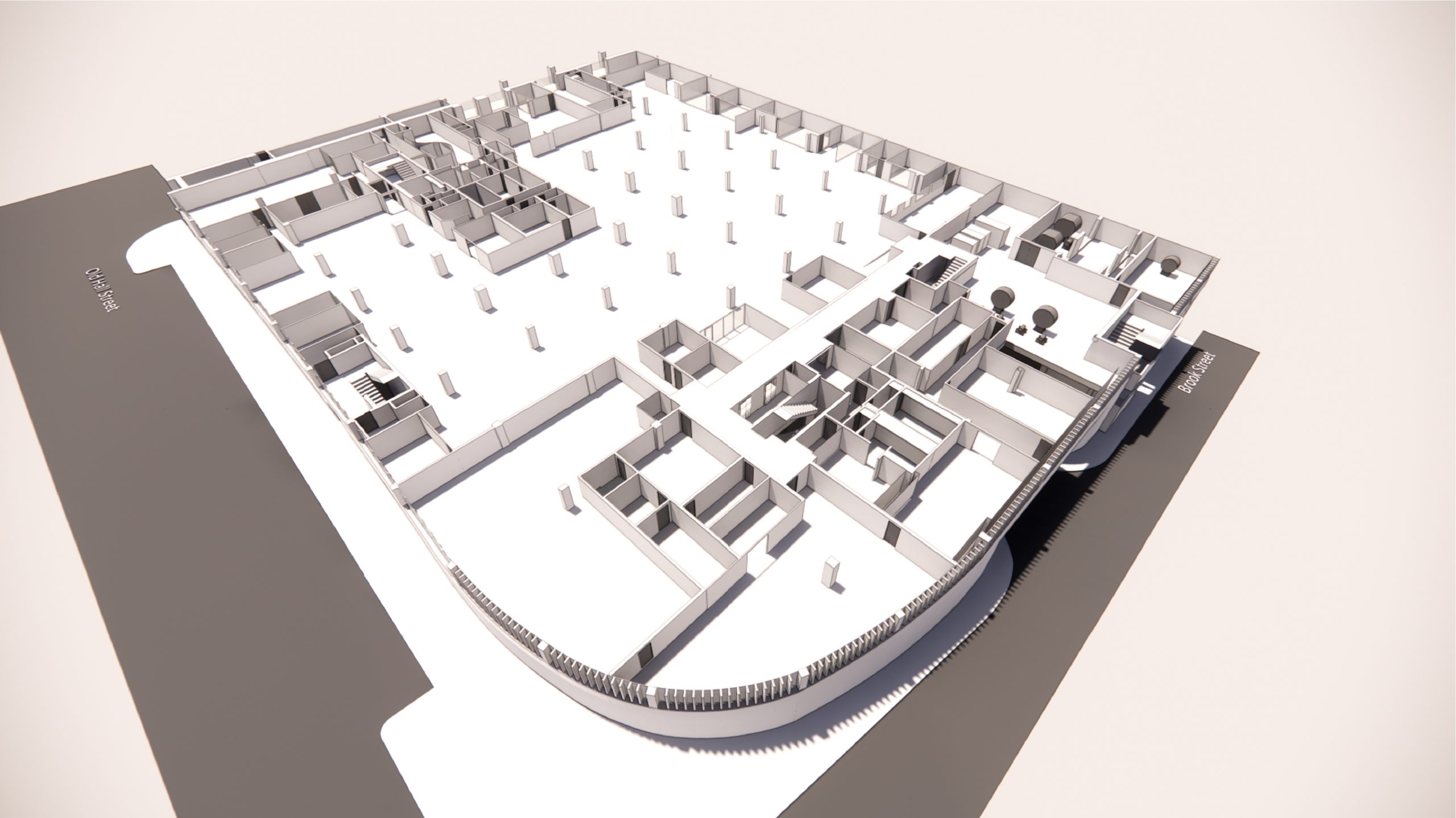 The Echo Building, Liverpool 3d rendering, ground floor from above