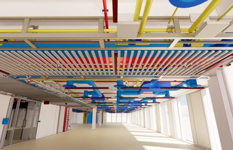 Inside of a building with pipes