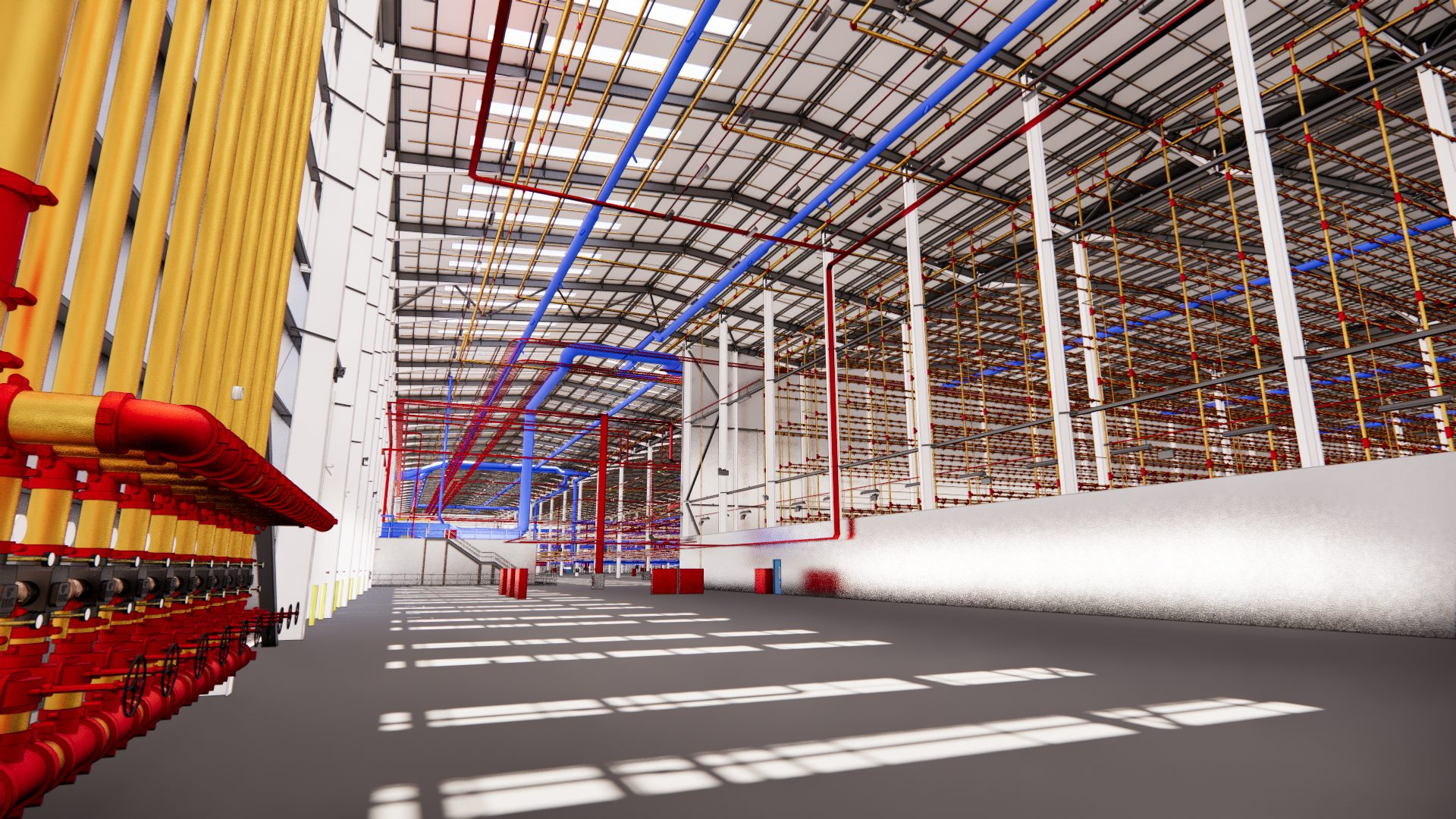 inside of H&M Distribution Warehouse with sunlight through windows