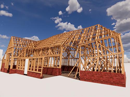 Rendering of barn construction