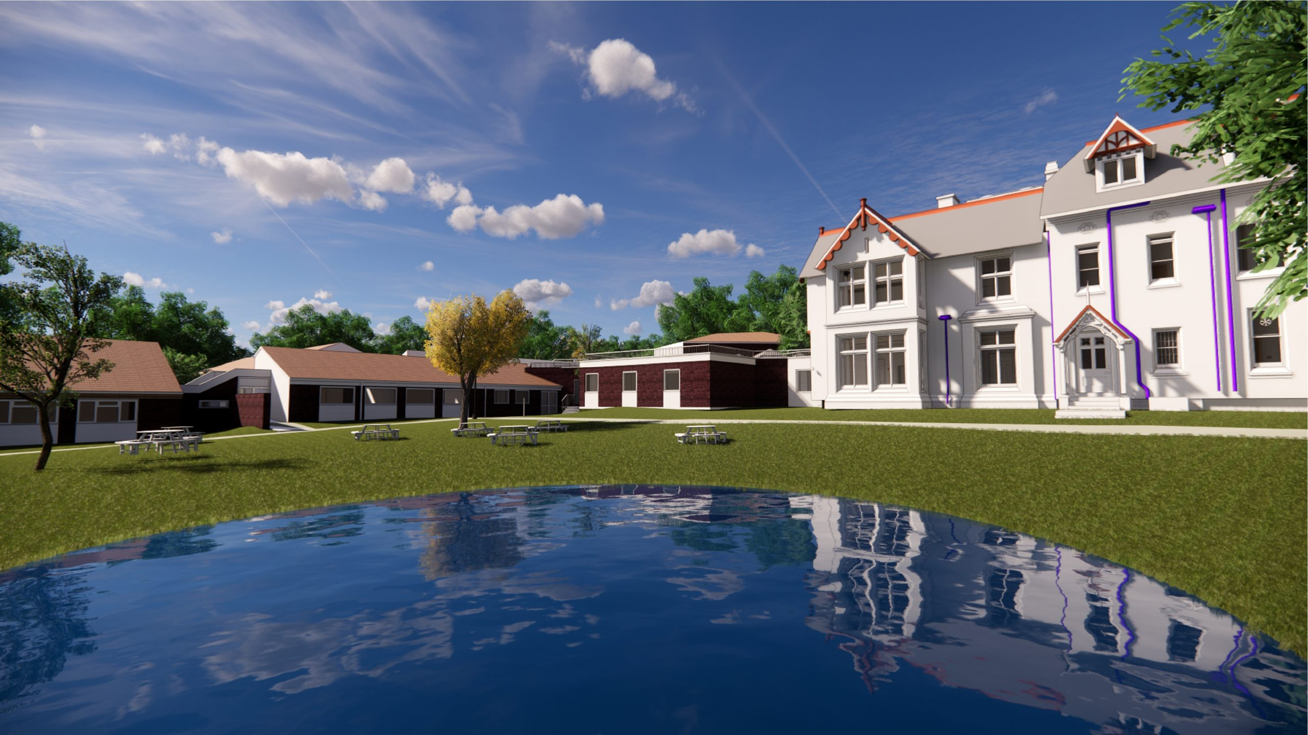 Leicester University 3D rendering with pond and utilities