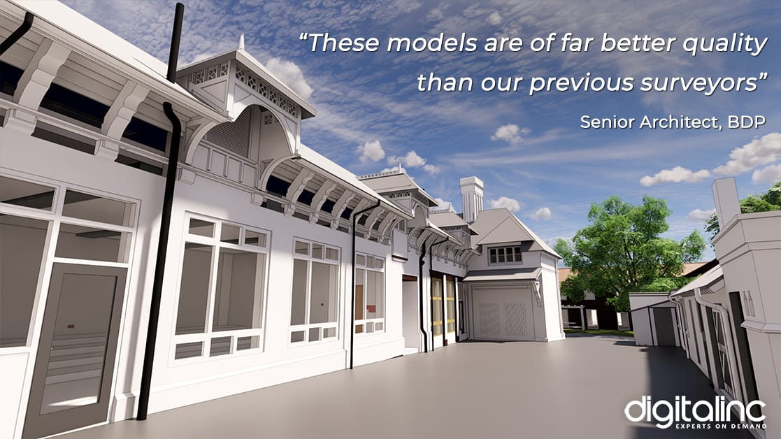 """Model of Leicester University with testimonial: """"These models are of far better quality than our previous surveyors"""" Senior Architect, BDP"""