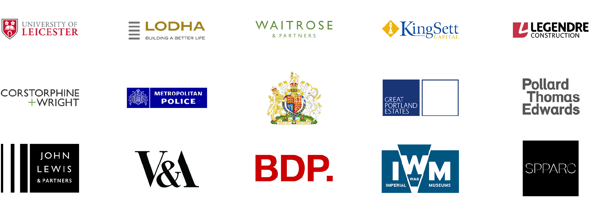 Client logos including University of Leicester, Lodha, Waitrose, KingSett, Legndre Construction, Corstorphine + Wright, Metropolitan Poluce, Great Portland Estates, John Lewis, V&A, Pollard Thomas Edwards., BDP, IWM, SPPARC
