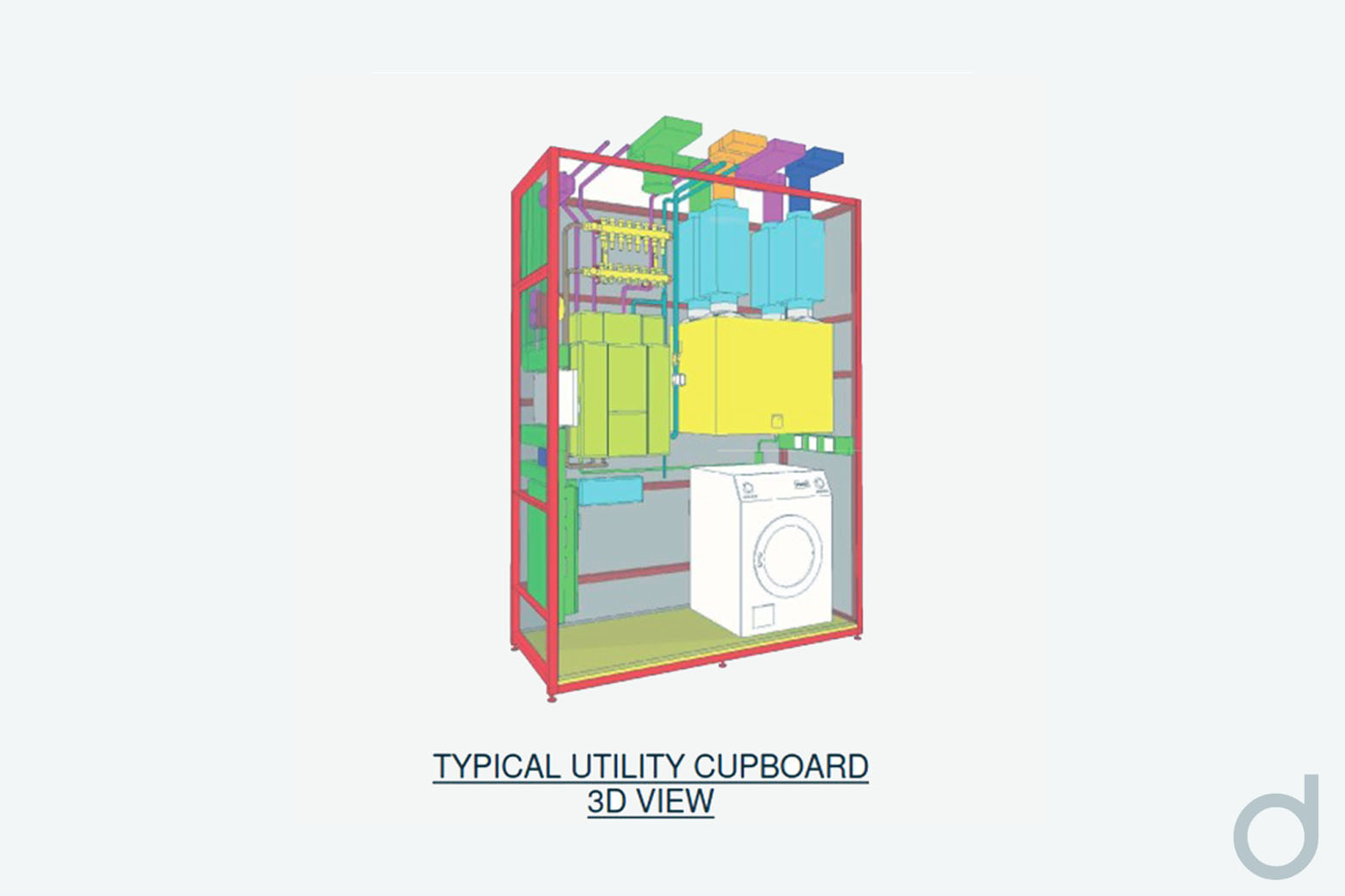 Oaklands House Utility Cupboard 3D view