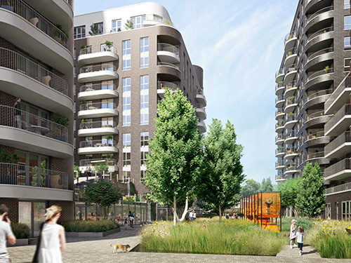 3D rendering of modern apartment complex with people walking and children on a playground
