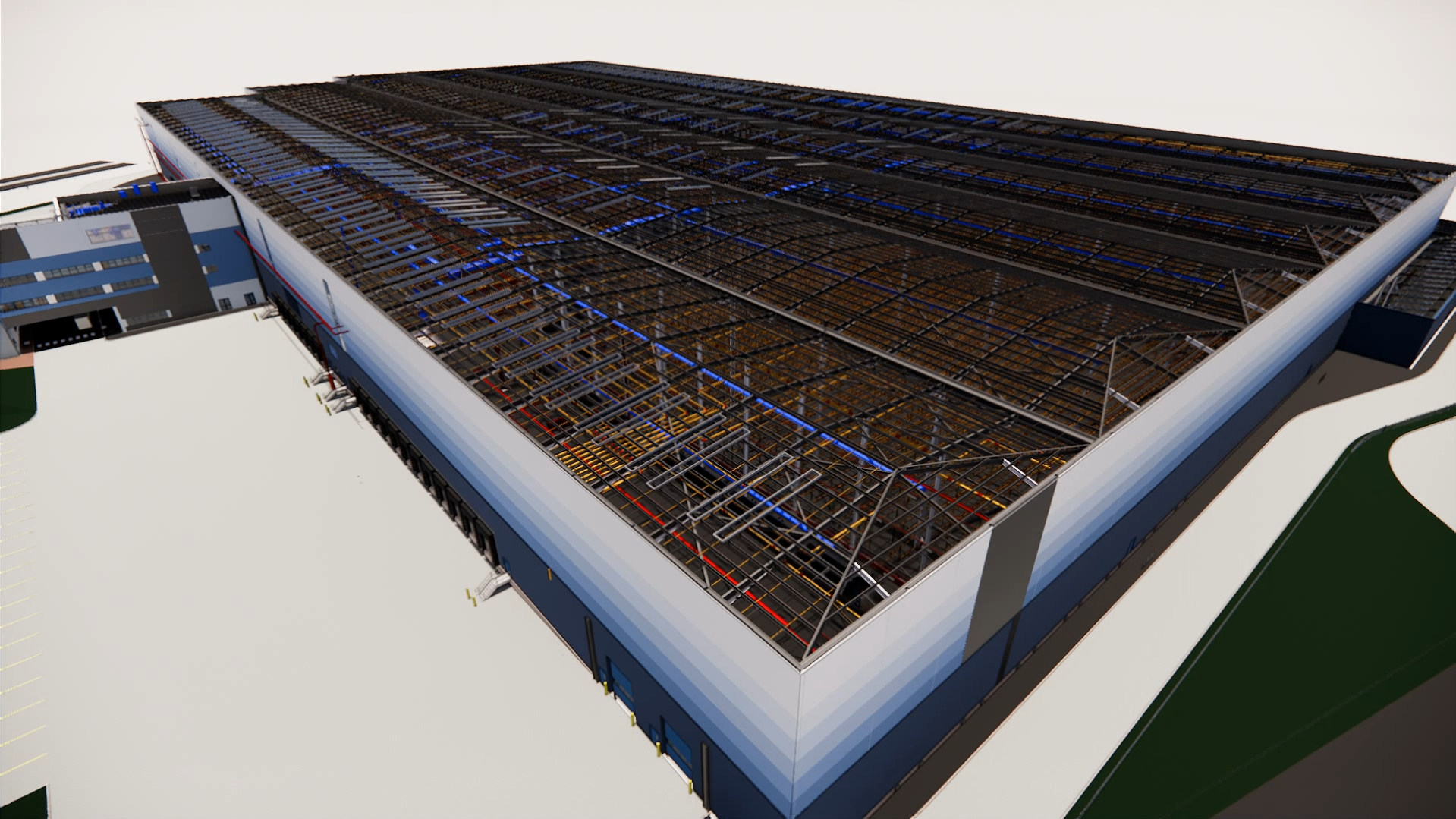 H&M Distribution Warehouse, side view, roof off