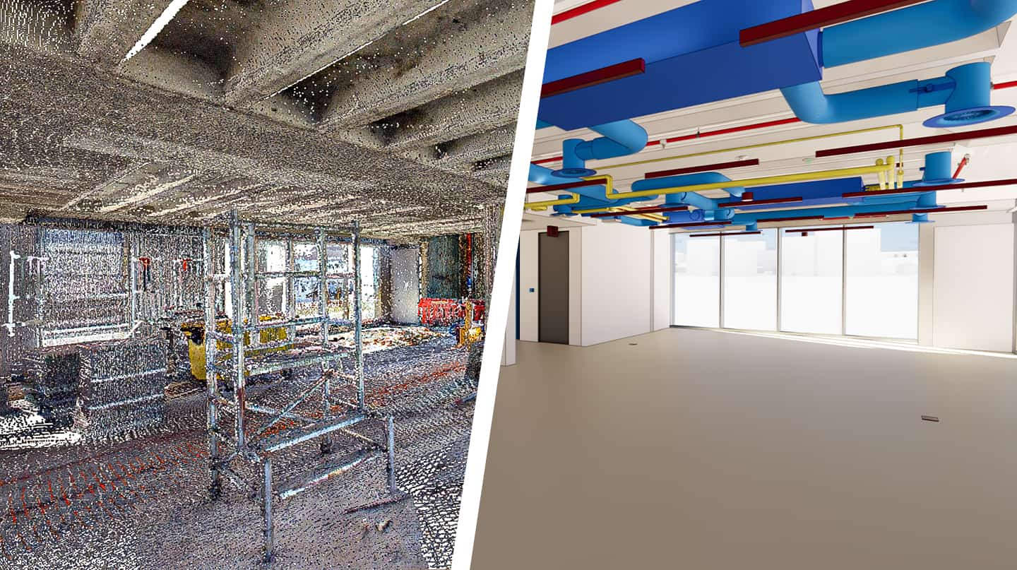 Room with cloud points on one side and BIM model to the other