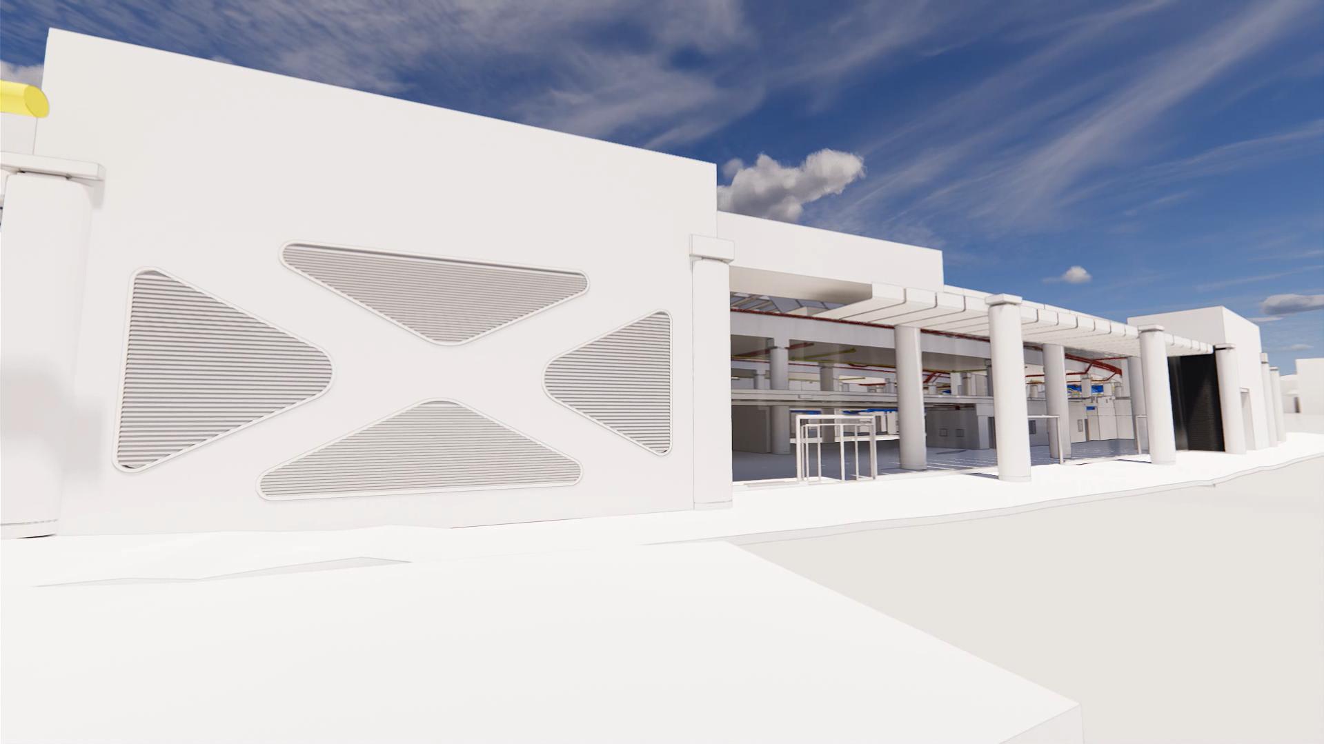 Rendering International Terminal, Waterloo, Utilities with outside view