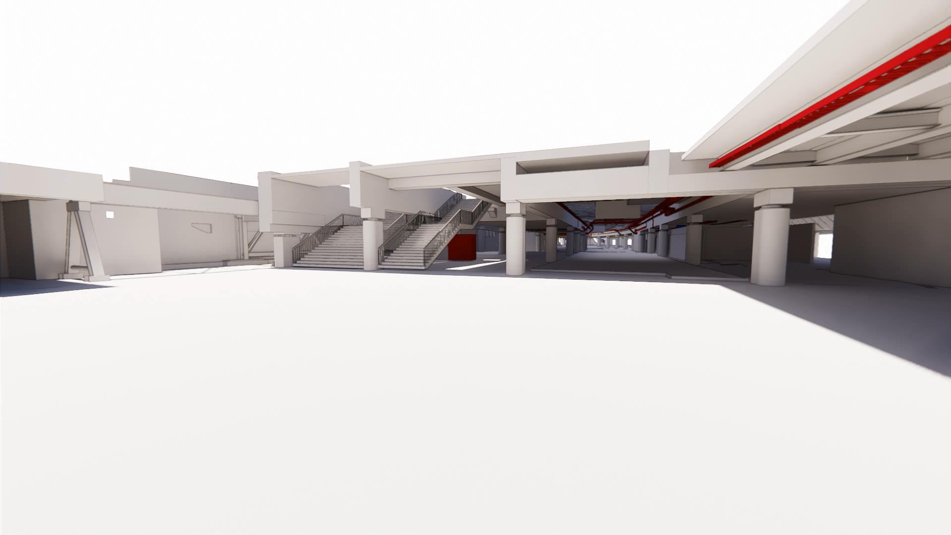 Rendering International Terminal, Waterloo, Utilities corridor