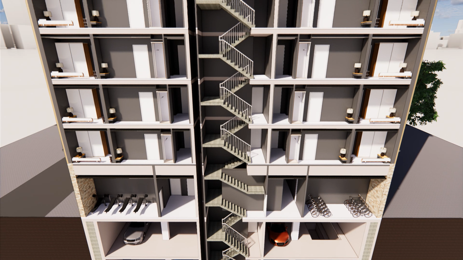 Rendering of The Compton, inside view with staircase