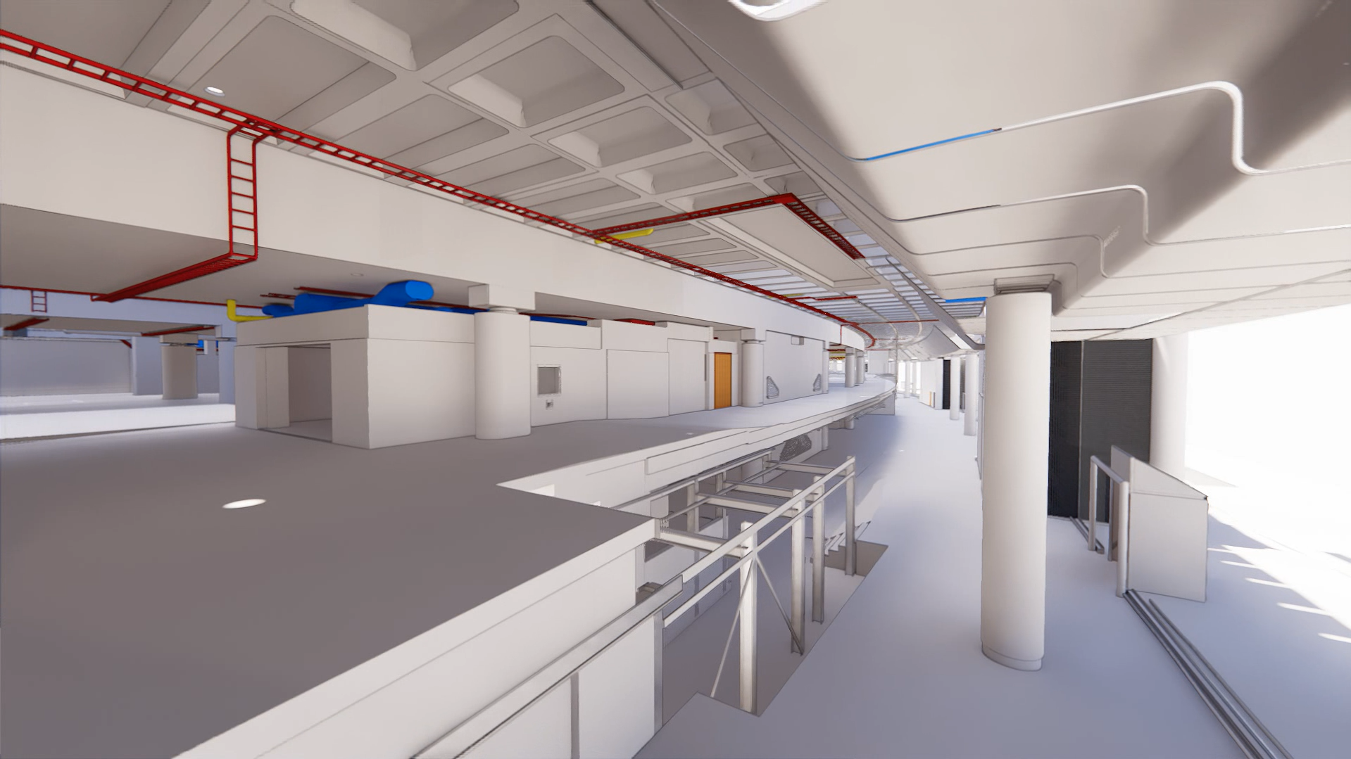 3D. Rendering International Terminal, Waterloo, utilities