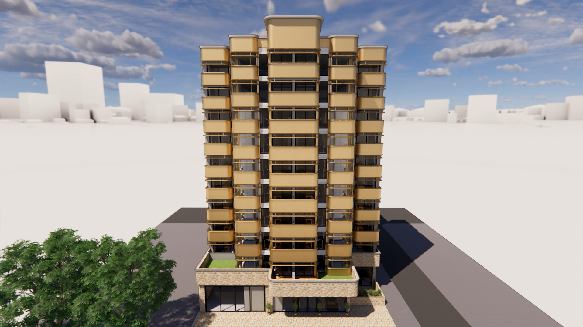 Rendering of a modern building front view