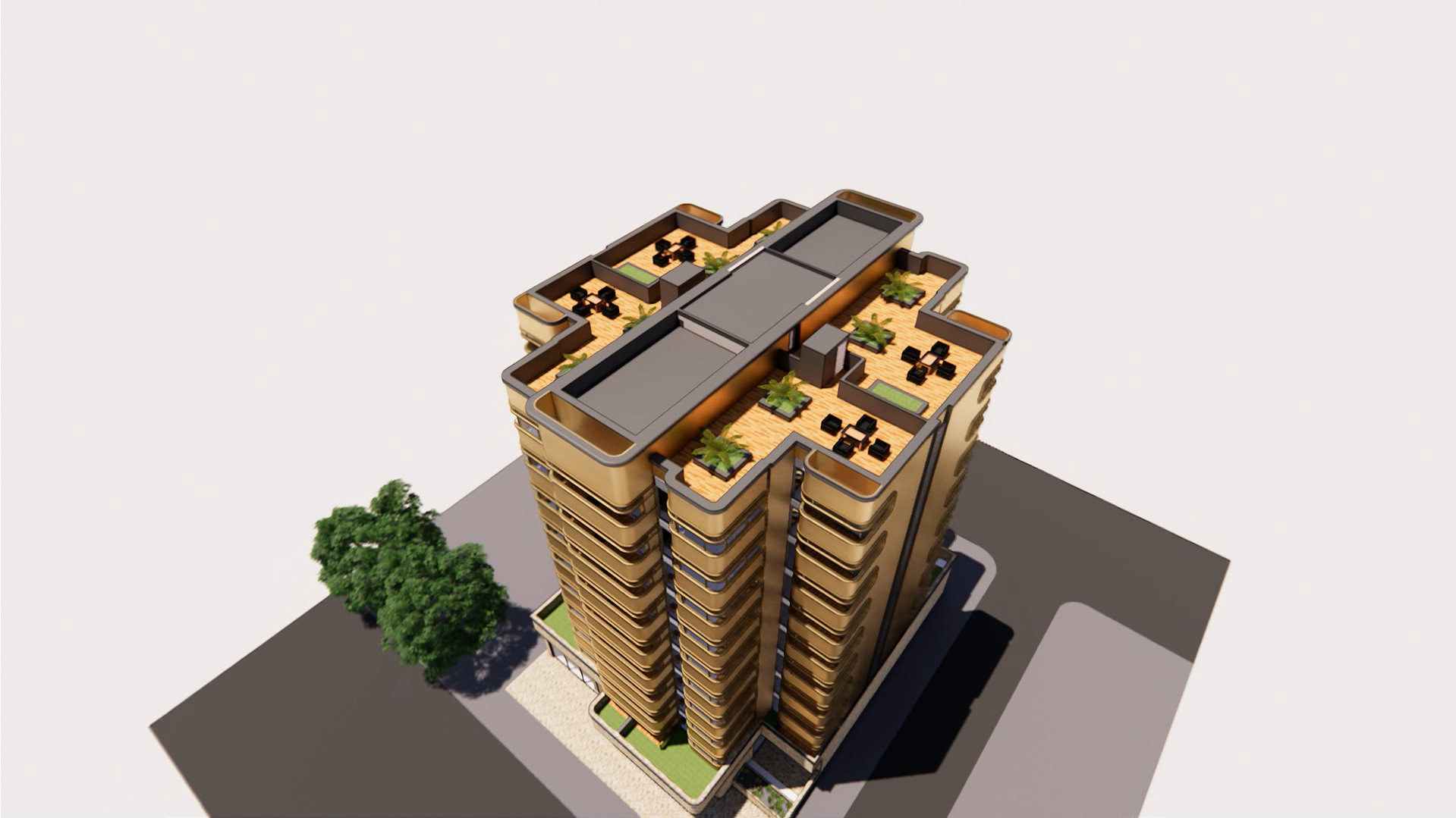 Rendering of a modern building from above