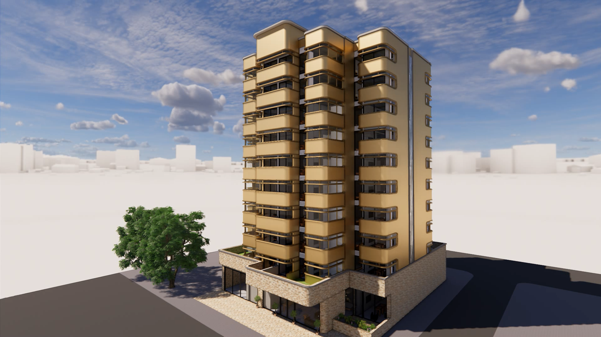 Rendering of a modern building from the outside