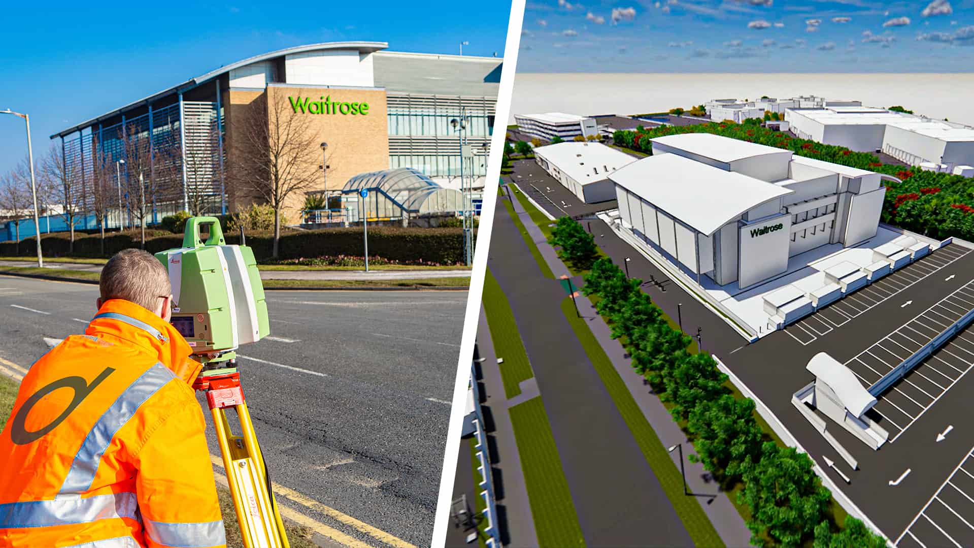 Waitrose building and surveyor scanning the site, plus BIM model of the same building