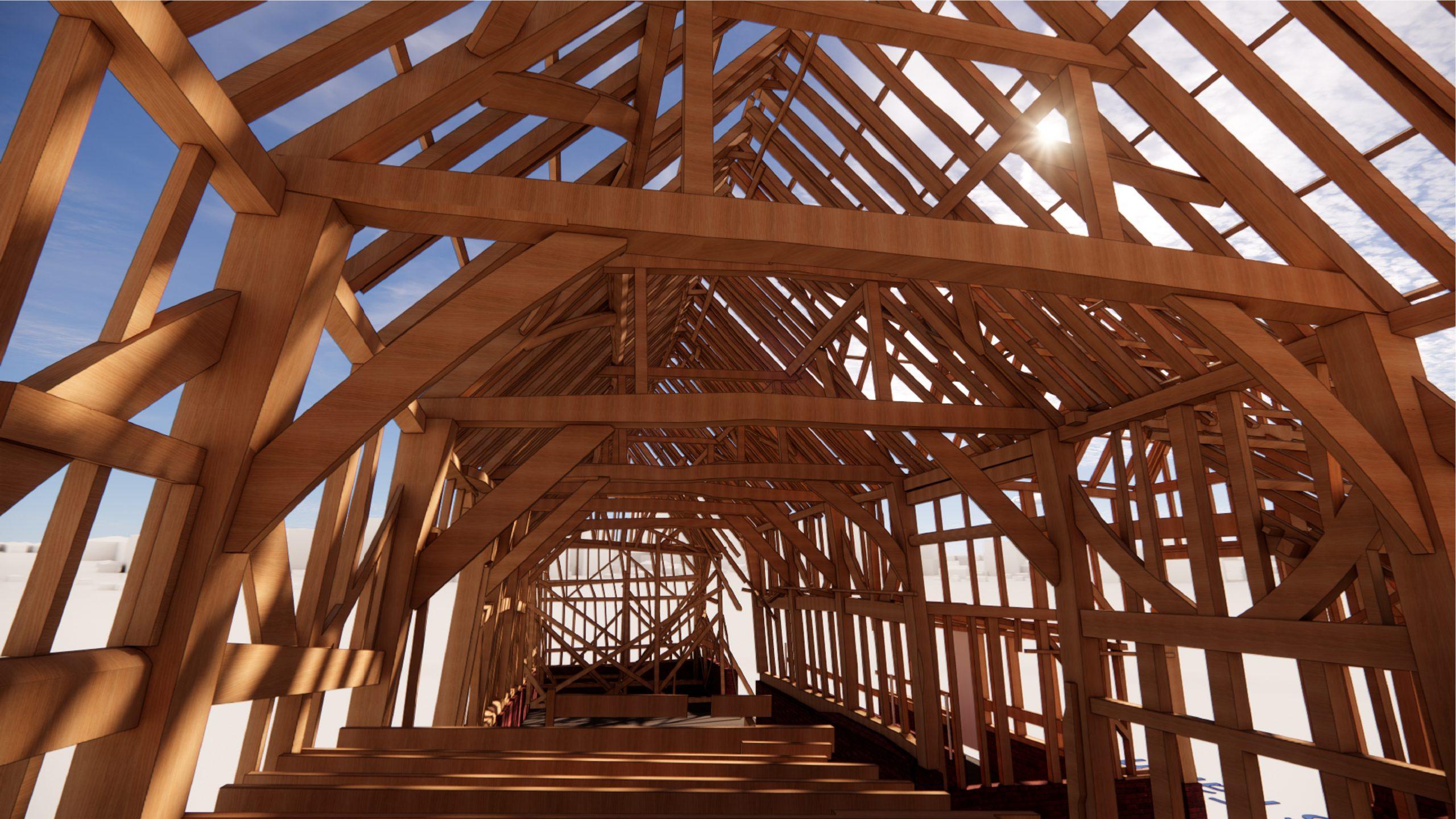 Inside view of Whitewebbs Farm - Rendering - 3D